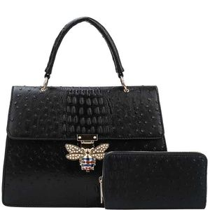 🌸Stylish Insect Buckle Satchel With Wallet